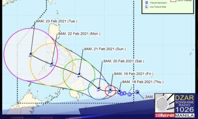 """Lumakas pa at isa nang tropical storm ang bagyong """"Auring""""."""