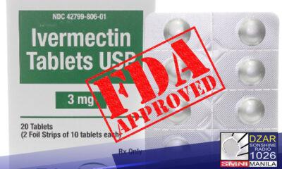 """Aprubado na ng Food and Drug Administration(FDA) ang """"compassionate use"""" ng gamot na Ivermectin para panlaban sa COVID-19."""