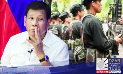 Patay na ang usapang pangkapayapaan sa pagitan ng gobyerno at mga rebeldeng teroristang grupo.Ito ang inihayag ni Pang. Rodrigo Duterte sa SMNI News.