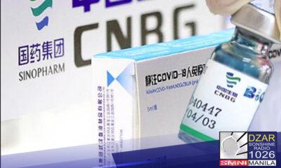 Binigyan na ng Emergency Use Authorization (EUA) ng Food and Drug Administration ang bakuna kontra COVID-19 na gawa sa isang Chinese firm na Sinopharm.