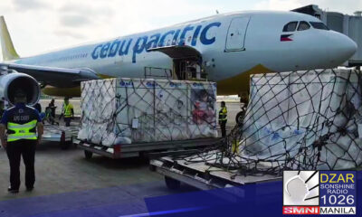 Lumapag kaninang 7:16 ng umaga sa bay 49 ng ( NAIA) ang Cebu Pacific Flight 5J671 na lulan ang nasa 1.5 milyong dosis ng Sinovac vaccine