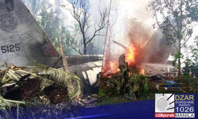 """""""Material, human at environmental factors"""" ang mga naging sanhi ng pagbagsak ng C-130 plane sa Sulu kamakailan."""