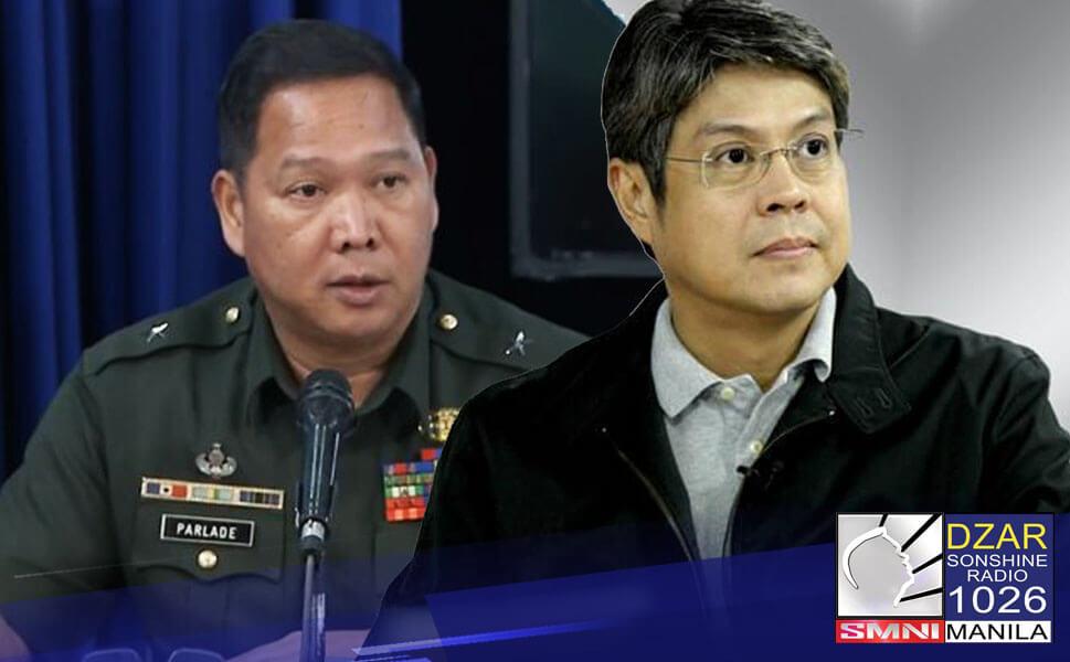 Sinupalpal ni Southern Luzon Command (SOLCOM) Chief Lt. General Antonio Parlade Jr. si Senator Kiko Pangilinan kaugnay sa pahayag nito sa heneral
