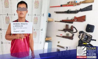 Nakumpiska ng Police Regional Office 5 sa isang search operation ang iba't-ibang klaseng baril, bala, at pampasabog mula isang sibilyan sa Masbate.
