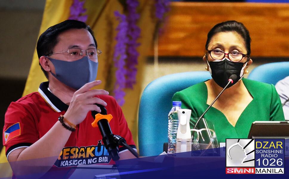 """Tutol si Senator Christopher """"Bong"""" Go sa hiling ni Vice President Leni Robredo na bigyan ito ng kapangyarihang pangasiwaan ang COVID-19 response ng pamahalaan."""