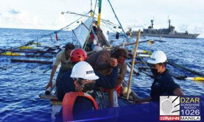 Nasagip ng mga Philippine Navy ang anim na crew ng fishing vessel na MR kupido sa Benham Bank sa Philippine Rise.