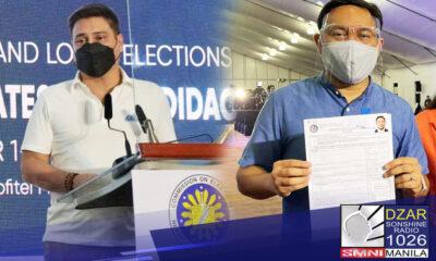 Naghain na ng Certificate of Candidacy (COC) para muling tumakbo sa pagka-senador sa 2022 elections si Senador Juan Miguel Zubiri.